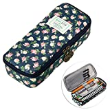 BTSKY Cute Pencil Case -- High Capacity Floral Pencil Pouch Stationery Organizer Multifunction Cosmetic Makeup Bag, Perfect Holder for Pencils and Pens Dark Blue