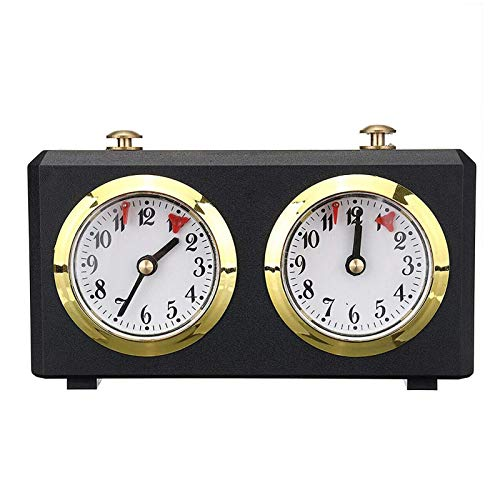 CHENSTAR Temporizador profesional de ajedrez, reloj de ajedrez tradicional, reloj de ajedrez portátil, reloj analógico de ajedrez para juegos de mesa, 15 x 5,5 x 9 cm