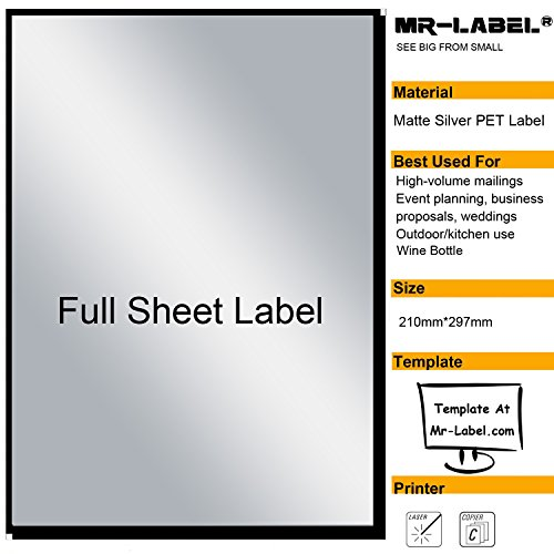 Mr-Label Extra Large Full-Sheet Matte Silver Label Adhesive Labels – Scratchproof Waterproof Stickers for Company Information | Wine Bottle - Laser Print Only (25 Sheets)