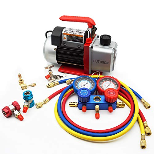 AUTOGEN 4CFM Single-Stage Air Vacuum Pump for HVAC/Auto AC Refrigerant