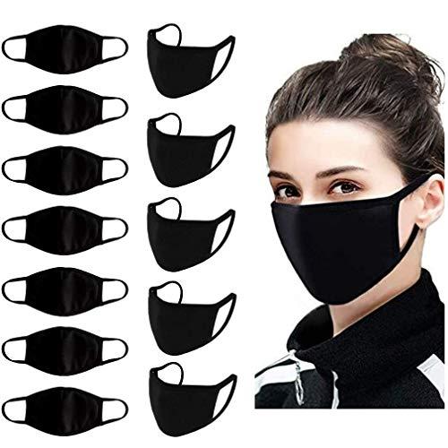 100% Cotton 3Ply Face Mask Pack of 6 & 10 Black Color Washable Reusable masks for Men & Women