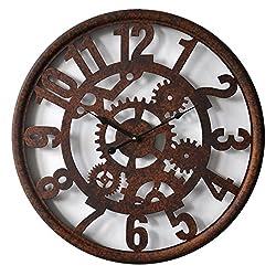 HDC International Round Decorative Metal Distressed Gear Clock Quartz Movement 23 x 23 x 1 Inches.0114