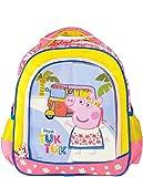 Kinderrucksack Kindergartentasche Kindergartenrucksack mit Vortasche Getränkenetz Lizenz Rucksäcke Motiv George Peppa Pig Wutz - für Mädchen im Kindergarten oder Kita Geschenk Idee Ostern Geburtstag