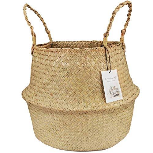 Uticon Seagrass Belly Basket Pflanzgefäß, Seagrass Weaving Faltbarer Aufbewahrungseimer Spielzeug Diverses Kleidung Pflanzen Korb Primary Color M