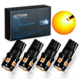 AUTOGINE 194 LED Bulbs Amber Yellow 300LM Super Bright 9-SMD 2835 Chipsets T10 168 175 2825 W5W LED Replacement Light Bulbs for Car Side Marker Turn Signal Blinker Parking Lights (Pack of 4)