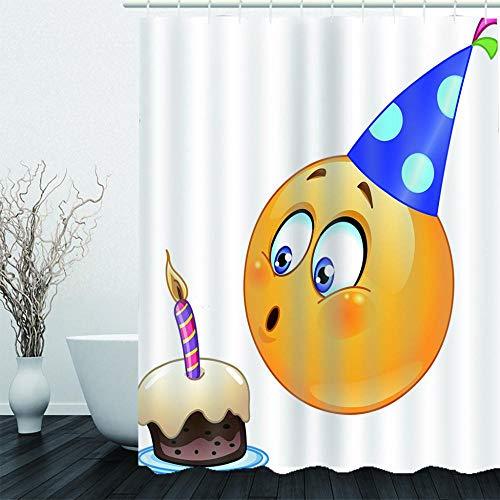 NZDSXQ Duschvorhang Cartoon Kuchen Emoji 3D Shower Curtain Anti-Schimmel Wasserdichter Waschbar Anti-Bakteriell Badewanne Vorhang 180x200cm mit 12Duschvorhängeringen