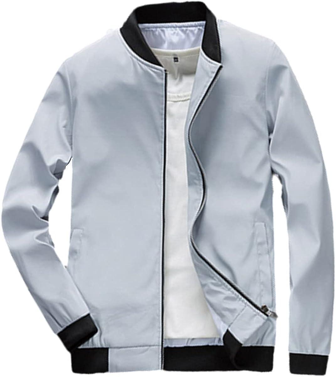 Spring Men's Bomber Jacket Outer Slim Solid Color Jacket Fashion Streetwear Baseball Jacket