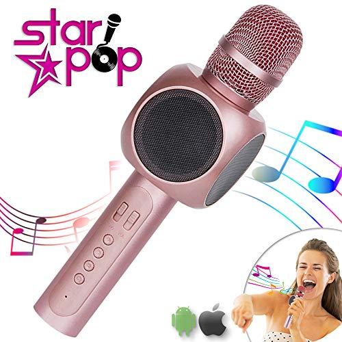 STARPOP Micrfono Inalmbrico Karaoke con Altavoz Porttil Bluetooth | 2 Altavoces Incorporados Perfecto para Karaoke | Compatible iPhone Android iPad PC AUX | Batera Larga Duracin | Rose Gold