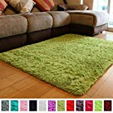 PAGISOFE Soft Shag Green Furry Area Rugs for Living Room Bedroom Kids Room Rug Fluffy Comfy Floor Carpet for Nursery Modern Plush Home Center Decorative Rug Fur Green Rug Mat 4' x 5'