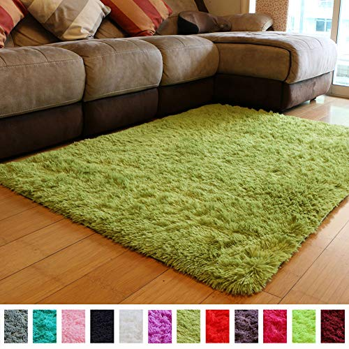 PAGISOFE Soft Shag Green Furry Area Rugs for Living Room Bedroom Kids Room Rug Fluffy Comfy Floor Carpet for Nursery Modern Plush Home Center Decorative Rug Fur Green Rug Mat 4' x 5'