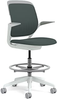 Steelcase White Base with Hard Floor Casters Cobi Stool, Graphite