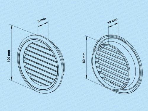 Farbe grau L/üftungsgitter Wetterschutzgitter rund Kunststoff Insektennetz Zuluft Abluft L/üftung System /Ø 80