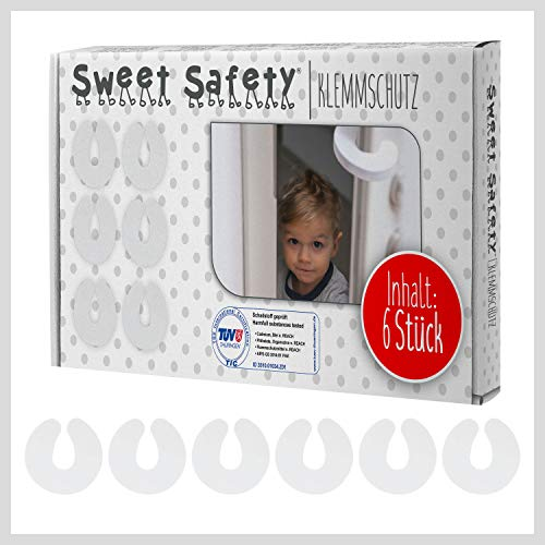 Sweet Safety® Baby Tür Klemmschutz für Türen – TÜV Schadstoff geprüft – Kindersicherung Türstopper Kinder – 6 Stück