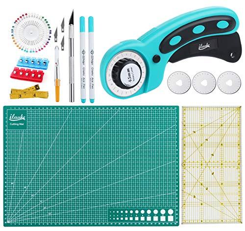Homewit Juego de cortadores tela con alfombrilla corte A3 + cortador circular regla patchwork y algunos pequeños accesorios costura, autorreparable para patchwork, acolchado costura