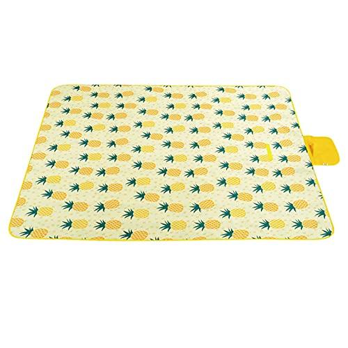 Outdoor-Picknickdecke Sanddichte wasserdichte Ananas-Strandmatte, tragbare, haltbare, extra große Oxford-Faltmatte für Outdoor-Reisen Beach Lawn Park, Gelb