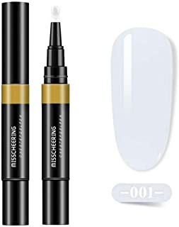 One Step Gel Nail Polish Pen, Hamkaw 3 in 1 Soak Off UV LED Nail Varnish Nail Art Kit - No Base & Top Coat Need, 6 Solid Cream Nail Painting Pen Nail Art Design Tools Kit, 8ML