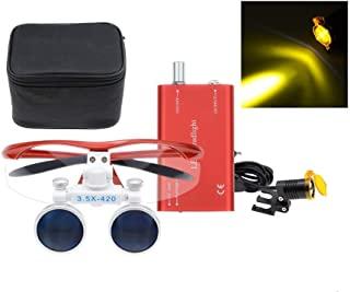 SoHome 2.5X420mm Dental Binocular Loupes Surgical Magnifiers+3W LED Headlight with Filter Clip-on Type+Bag (Red)