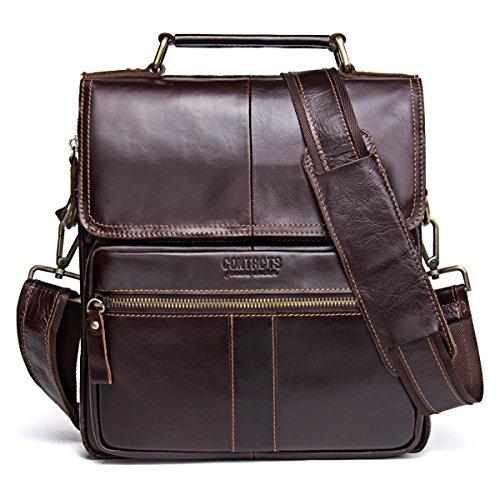 Contacts Genuine Leather Men Messenger Crossbody Shoulder Travel Handbag Dark Coffee
