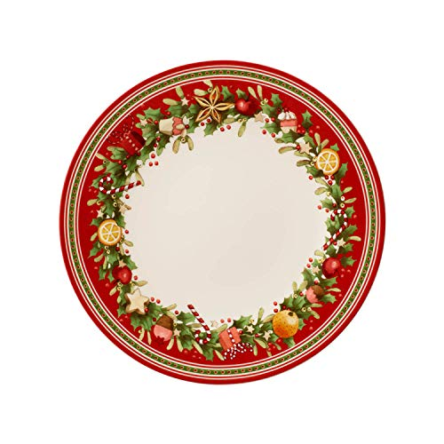Villeroy & Boch Winter Bakery Delight Speiseteller, 27 cm, Premium Porzellan, Weiß/Rot