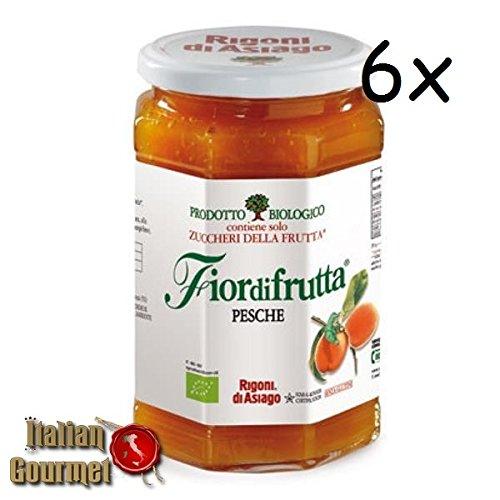 6x Rigoni di Asiago Fiordifrutta Pfirsich BIO Fruchtaufstrich Konfitüre 250g