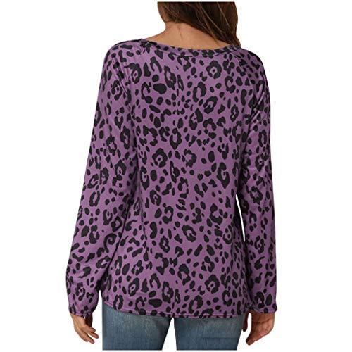 BOLANQ Frauen lösen beiläufige Lange Hülse Plus Größen-Rundhalsausschnitt gedruckte Shirt-Bluse