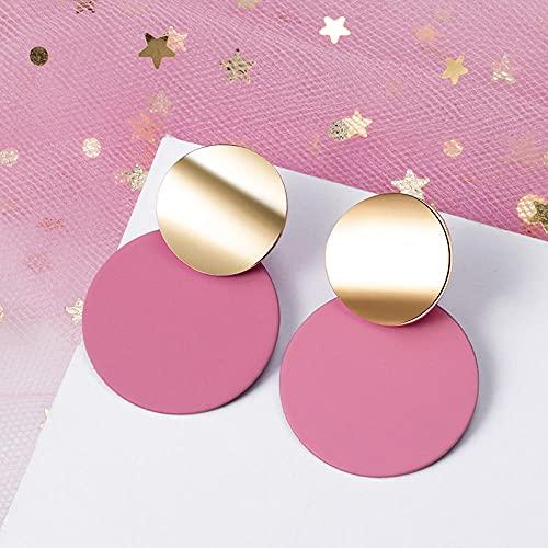 XCWXM Pendientes de Mujer Lindo acrílico geométrico Colgante Pendientes Pendientes de Oro Pendientes de Moda Popular joyería de Moda-Rosa 161