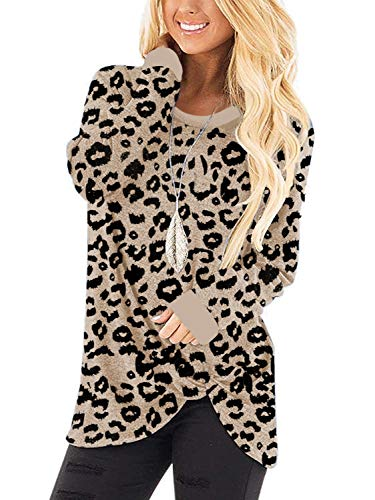 I2CRAZY Women's Casual Soft Long Sleeves Knot Side Twist Knit Blouse Top -M,Leopard