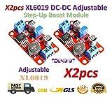 TECNOIOT 2pcs DC DC Boost Power Supply XL6019 Voltage Stabilized 5V/12V/24V Adjustable