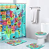 Britimes 4 Piece Shower Curtain Sets, with 12 Hooks, USA Map Cartoon with Non-Slip Rugs, Toilet Lid Cover and Bath Mat, Durable and Waterproof, for Bathroom Decor Set, 72' x 72'