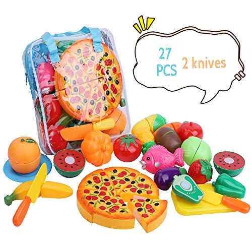 Muchas frutas y verduras diferentes, ideal para enseñar sobre diferentes verduras y frutas viene con un cuchillo de plástico para que los niños disfruten cortando, proporcionan la máxima seguridad para sus niños Cada fruta y verdura se puede cortar p...