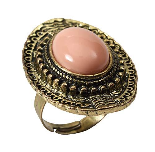 Forum Novelties BA1609 Stein-Ring, Damen, Bronze, Pink, One Size