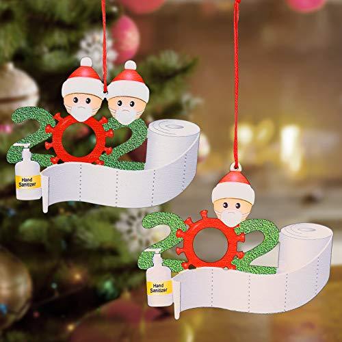 2 sztuki dekoracja bożonarodzeniowa 2020, ozdoba bożonarodzeniowa, spersonalizowana Survior Family Christmas 2020 dekoracje świąteczne DIY imię błogosławieństwo żywica bałwan choinka wisząca wisiorek materiał żywiczny
