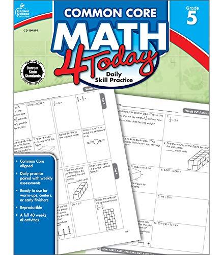 Carson Dellosa | Common Core Math 4 Today Workbook | 5th Grade, 96pgs (Common Core 4 Today)