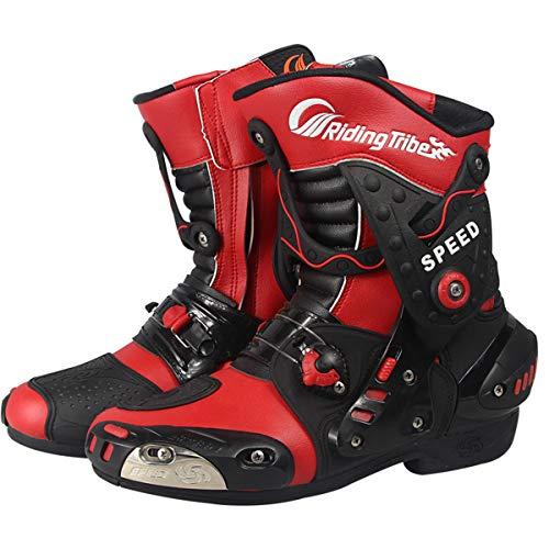 MERRYHE Bottes Moto pour Hommes blindés Bottes de Protection Courtes pour Chaussures de Cheville Chaussures antidérapantes Chaussures de Sport,Red-41
