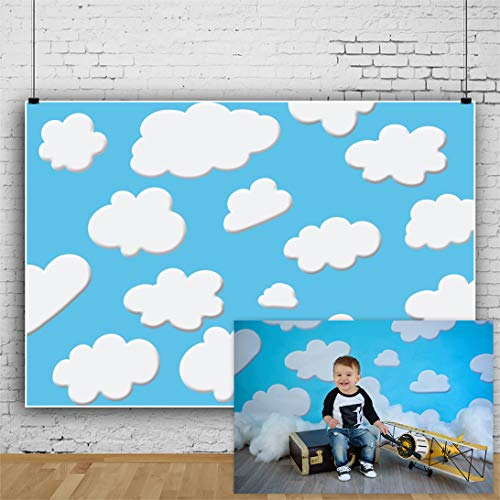 Laeacco Vinyl 7x5ft Photography Background Blue Sky Cute Clouds Photo Backdrops Cartoon Children Photographic Backdrop Shooting Studio Props