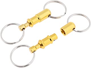 F Fityle 2PCS Detachable Keychain, Quick Release Pull Apart Breakaway Key Rings Lock Holder Dual Split Rings for Handy Outdoor Travel Accessories