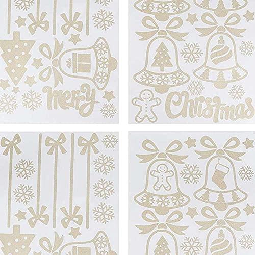 xiaoyu shop Juego de 2 pegatinas decorativas navideñas, campanas de copo de nieve para ventana de vidrio, puerta, tienda, escaparate decoración de vacaciones