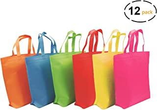 YoungZee Reusable Party Gift Tote Bags Rainbow Colors with Handles for Birthday Favors, Snacks, Decoration, Arts & Crafts, Event Supplies, Colorful,12 Bags