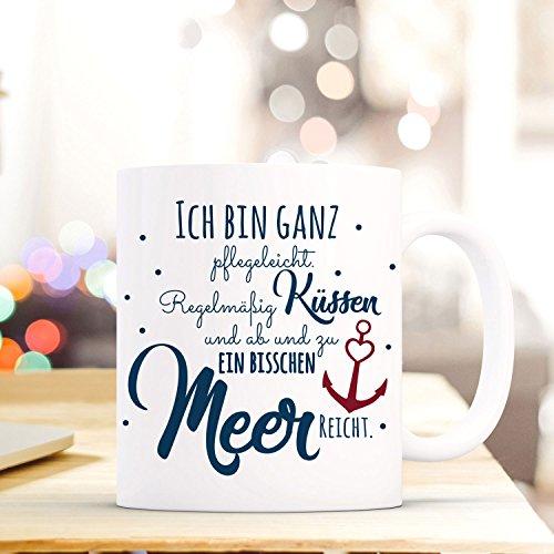 ilka parey wandtattoo-welt® Tasse mit Ankermotiv Spruch Becher Kaffeetasse Kaffeebecher Maritim mit Anker und Spruch regelmäßig Küssen. ts489