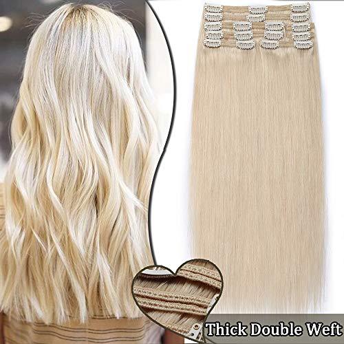 Elailite Extension Clip Capelli Veri Voluminose 8 Ciocche pack 100% Remy Human Hair Folti Double Weft Full Head 25cm (110g) #60 Biondo Platino