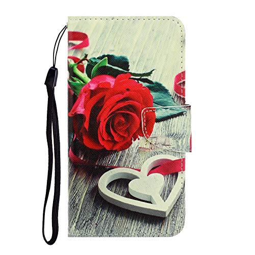 Nadoli Huawei P40 Hülle,Rose Blume Muster PU Leder Magnetisch Flip Brieftasche mit Handschlaufe Kartenslot Ständer Klapphülle für Huawei P40