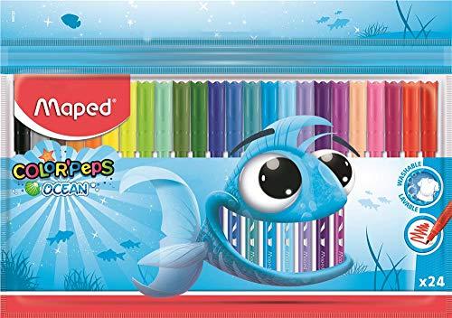 Maped - Feutres Ocean Color Peps - 24 Feutres de Coloriage Encre Lavable - Pointe Fine Ogive Douce et Souple - Pochette Plastique de 24 couleurs