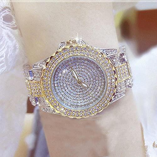 Msltely Nuevo Bling Ladies Relojes de Pulsera Vestido Gold Reloj de Oro Relojes de Diamantes de Cristal de Acero Inoxidable Reloj de Plata Mujer Montre Femme AA (Color : Gold Silver)