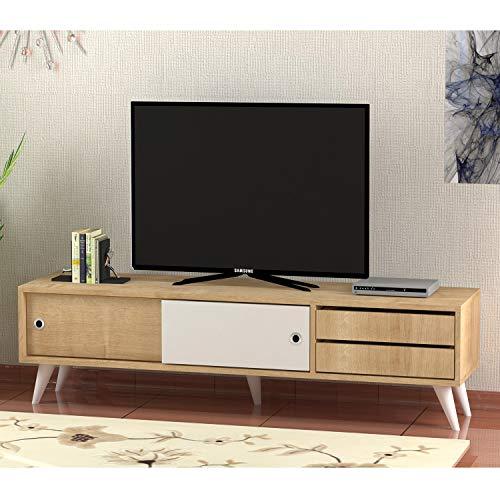 Homemania Mobile Porta TV Eduardo, Legno, Rovere-Bianco, 160x40x40 cm