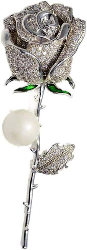 SSMDYLYM Pearl Zircon Rose Brooch , Ladies Alloy Br Ranking TOP2 Raleigh Mall Elegant