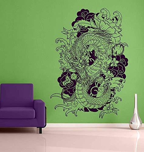 ik3463 - Vinilo decorativo para pared, diseño de dragón japonés