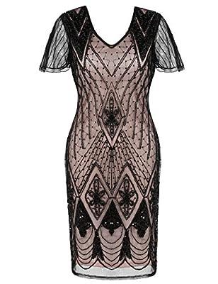 PrettyGuide Women's Flapper Dress Sequin Deco Cocktail Gatsby Dress Short Sleeve