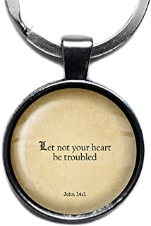 John 14:1 Let not your Heart be Troubled King James Version KJV Bible King James Version KJV Bible Silver Keychain Keyring