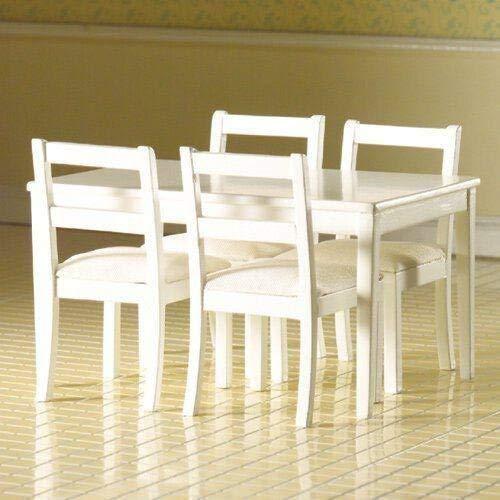 Dolls House Table + 4 chaises, poupées blanches maison 3665