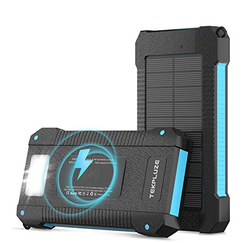 Solar Power Bank 30000 mAh, Wireless Portable Charger...